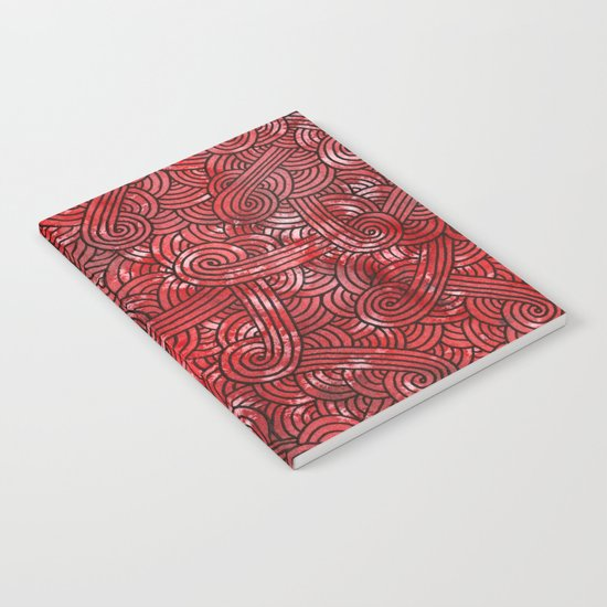 Red and black swirls doodles Notebook