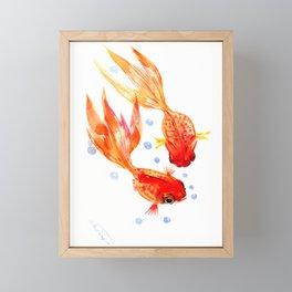 Goldfish Nursery Illustration Feng Shui Two Fish Art Framed Mini Art Print