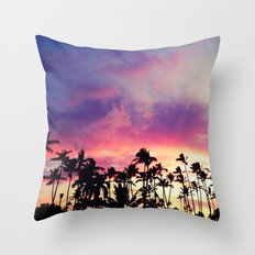 1980's sunset and quote Throw Pillow