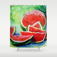 watermelon Shower Curtains featuring watermelon by OLHADARCHUK