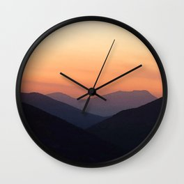 Watercolor Sunset, Estes Park 08 Wall Clock