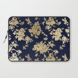 Elegant vintage navy blue faux gold flowers Laptop Sleeve