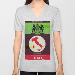 Vintage style Italy Map poster. Unisex V-Neck