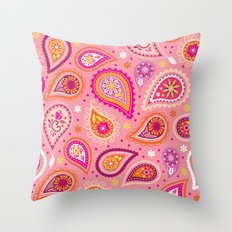 Colorful summer paisleys Throw Pillow