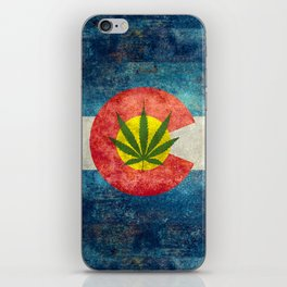 Retro Colorado State flag with leaf - Marijuana leaf that is! iPhone Skin