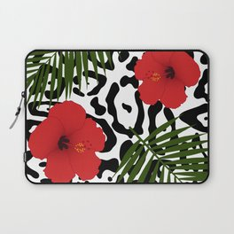 Red hibiscus and palm leaves seamless pattern Laptop Sleeve
