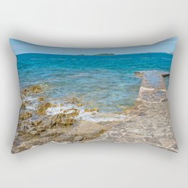 Pathway on the typical rocky beach in Istria, Croatian coast. Blue transperent sea and sky. Rectangular Pillow