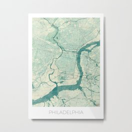 Philadelphia Map Blue Vintage Metal Print