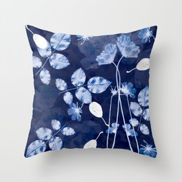 Flora Cyanotype Throw Pillow