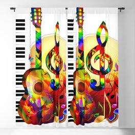 Colorful  music instruments painting, guitar, treble clef, piano, musical notes, flying birds Blackout Curtain