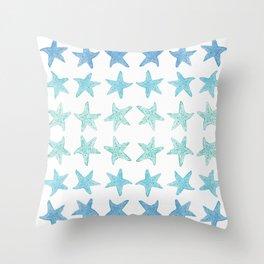 Blue Watercolor Starfish Throw Pillow