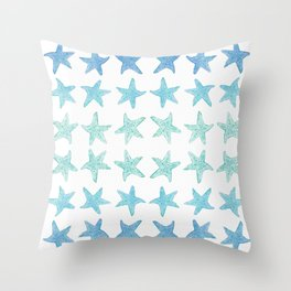 Blue Watercolor Starfish Throw Pillow