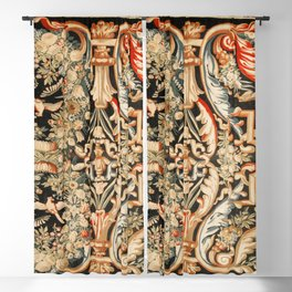 Antique French Gobelins Aubusson Tapestry Print Blackout Curtain