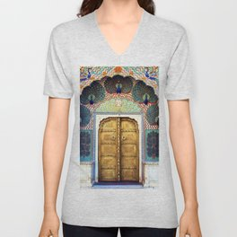 India Palace Ornate Gold Doorway with Peacocks Photograph Unisex V-Neck