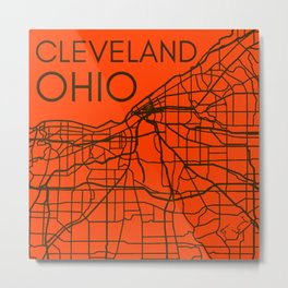 Cleveland Ohio Map City Street Maps OH Home Town Pride Vintage Print Metal Print