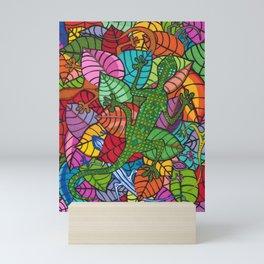 Colorful Mosaic Lizards in Leaves Mini Art Print