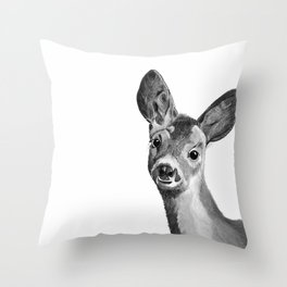 Baby deer in black and white Throw Pillow