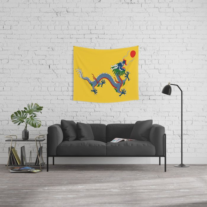 Chinese Dragon - Flag of Qing Dynasty Wall Tapestry by oldking ...