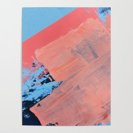 Reveal [4] a minimal abstract mixed-media piece in pinks and blue by Alyssa Hamilton Art Poster