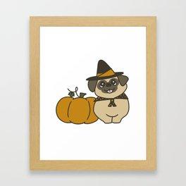 Pug-kin Patch Witch Framed Art Print