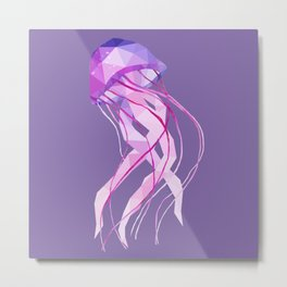 Low Poly Pelagia Noctiluca Jelly Fish. Metal Print