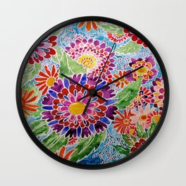 Flower Batik Watercolor Wall Clock