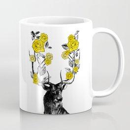 The Stag and Roses | Deer and Flowers | Yellow | Vintage Stag | Vintage Deer | Antlers | Woodland | Coffee Mug