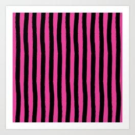 Black and Pink Cabana Stripes Palm Beach Preppy Art Print