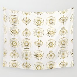 Evil Eyes – Gold Palette Wall Tapestry