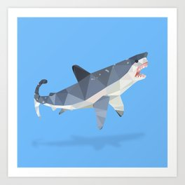 Low Poly Great White Shark Art Print