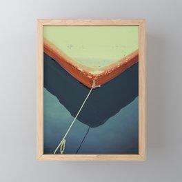 yellow boat Framed Mini Art Print
