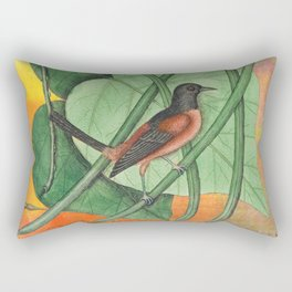 Orioles with Catalpa Tree, Natural History, Vintage Botanical Collage Rectangular Pillow