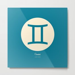 Gemini Symbol Blue Metal Print