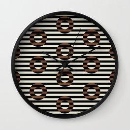 stripes & circles-terra Wall Clock