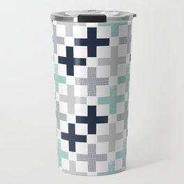 Swiss cross pattern minimal nursery basic grey and white camping cabin chalet decor Travel Mug