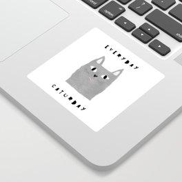 Caturday / poster, cat, art print, pictures, scandinavian, nursery, deco, family, art, animal, petti Sticker
