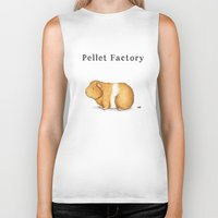guinea pig Biker Tanks featuring Pellet Factory - Guinea Pig Poop by When Guinea Pigs Fly