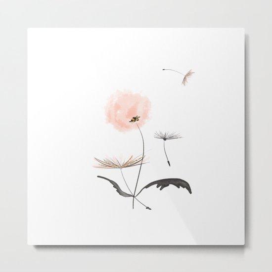 Sweet dandelions in pink - Flower watercolor illustration with glitter Metal Print