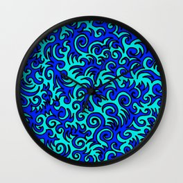 Blue Sqwiggle Wall Clock