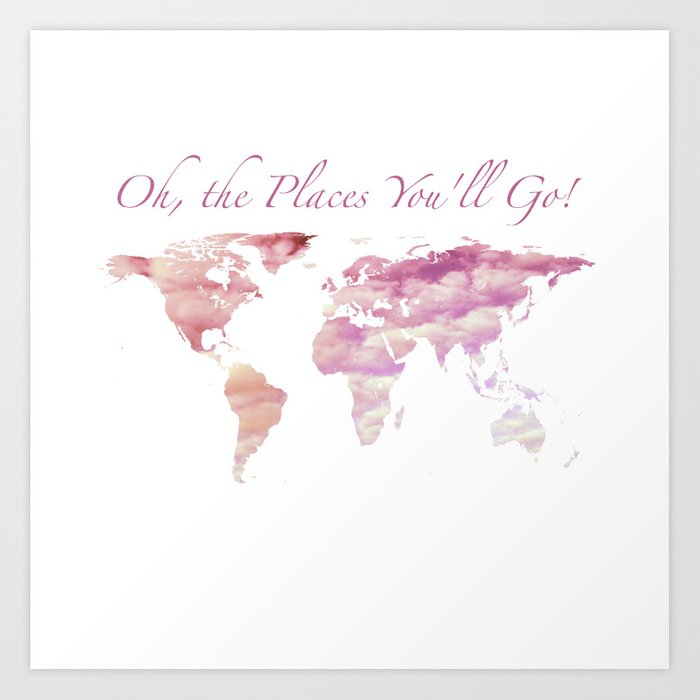 Cotton Candy Sky World Map - Oh, the Places You'll Go! Art Print by on mint world map, britannia world map, palm world map, coins world map, lego world map, cheese world map, gourmet world map, spooky world map, city lights world map, bunny world map, plants world map, seasonal world map, capri world map, meat world map, bamboo world map, abstract world map, apple world map, water drop world map, new years world map, beans world map,