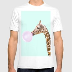 GIRAFFE MEDIUM Mens Fitted Tee White