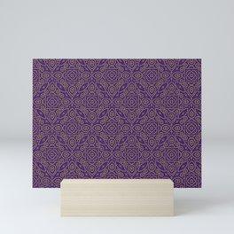 Purple and Gold Bandhani Bandhej Indian Sari Print Mini Art Print