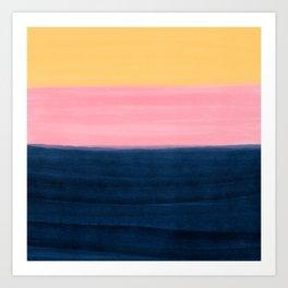 Summer Blue Pink Yellow Strokes Stripes Paint Art Print