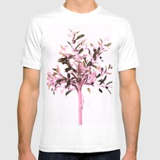Little olive tree with pink tones on a white background Mens Fitted Tee MEDIUM White