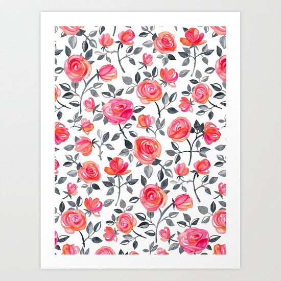 Roses on White - a watercolor floral pattern Art Print