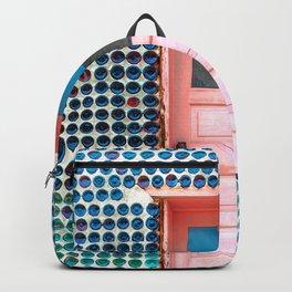 Blue Bottles Pink Door Backpack