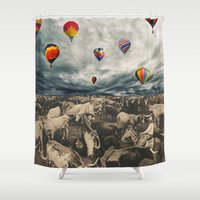balloons Shower Curtains featuring Balloons by Mrs Araneae