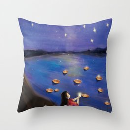 Cute Girl's Dream And Wish Throw Pillow