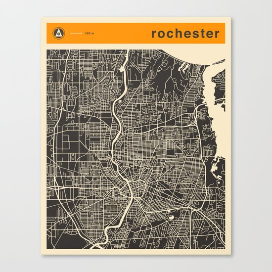 Rochester Map Canvas Print