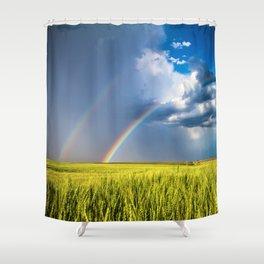 Daydream - Double Rainbow Above Kansas Wheat Field Shower Curtain